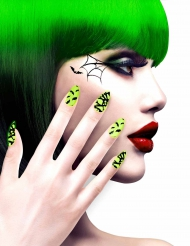 Finte unghie adesive gialle e nere Halloween per adulto