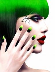 Kit unghie finte adesive nere e verdi per adulto