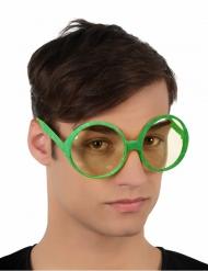 Occhiali rotondi verdi a paillettes per adulto