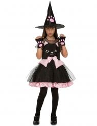 Costume da miss strega gatto per bambina halloween