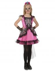 Costume dama in rosa per bambina dia de los muertos