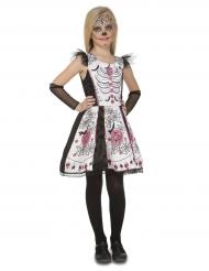 Costume da scheletro bianco per bambina dia de los muertos