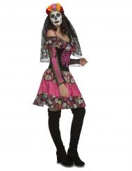 Costume dama scheletro rosa per donna dia de los muertos