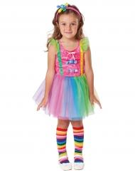 Costume pagliaccio candy multicolore da bambina