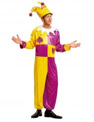 Costume da giullare giallo e viola uomo