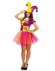 Costume da pagliaccio giallo e viola donna