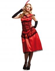 Costume da dama cabaret rosso donna
