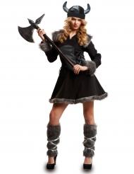 Costume da vichingo nero per donna