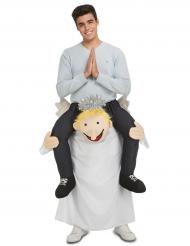 Costume uomo sulle spalle di un angelo di Natale adulto