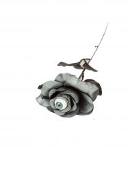 Rosa grigia con occhio 40 cm halloween