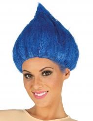 Parrucca da troll blu per adulto