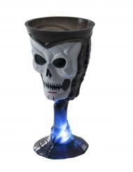 Bicchiere luminoso nero con teschio halloween
