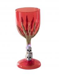 Bicchiere luminoso rosso mano scheletrica halloween