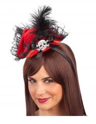 Mini cappello da pirata rosso per donna