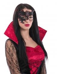 Mezza Maschera nera e rossa con catena donna