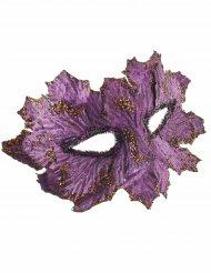 Maschera viola con foglie e brillantini per donna