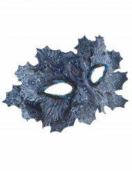 Maschera blu con foglie e brillantini per donna