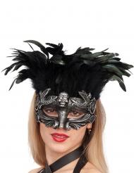 Mascher argentata con piume donna
