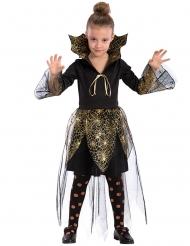 Costume da vampira con ragnatela dorata per bambina
