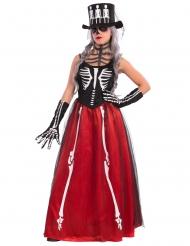 Costume da scheletro elegante rosso per donna - Halloween