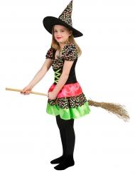 Costume strega a pois colorati per bambina halloween