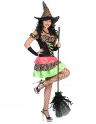 Costume da strega a pois fluo donna