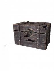 Finta cassa di legno luminosa e sonora con creatura 46 x 30 cm
