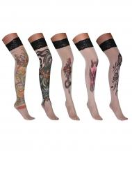 Calze autoreggenti con finto tatuaggio adulto