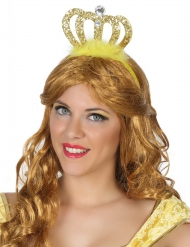 Diadema dorato  da principessa con piumette