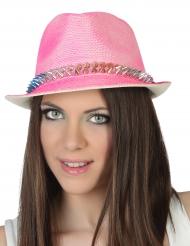 Cappello Borsalino rosa con punte per adulto