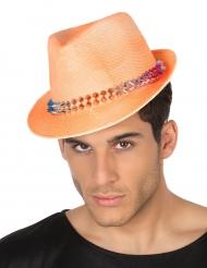 Cappello Borsalino arancione con punte per adulto