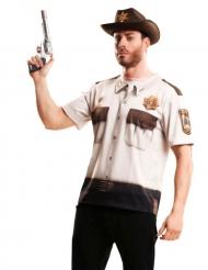 Maglietta sceriffo degli zombie per adulto