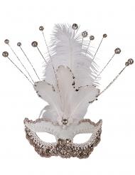 Maschera veneziana bianca con brillantini deluxe per donna