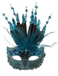 Maschera veneziana deluxe con paillettes e piume per donna