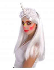 Fermaglio  corno da unicorno a fiori bianchi