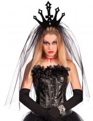 Corona nera con velo donna