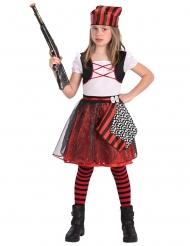 Costume da pirata bianco e rosso bambina