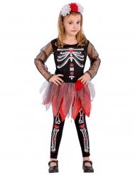 Costume da scheletro rosso e nero bambina