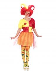 Costume da clown rosso e giallo per donna