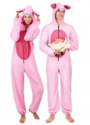 Costume coppia maiale rosa adulto