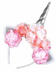 Cerchietto unicorno con fiori per adulto