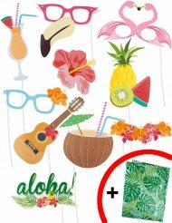 Kit Photobooth Hawai 10 pezzi con sfondo