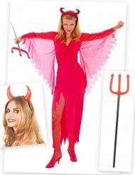 Kit costume diavolessa con corna e forca di Halloween