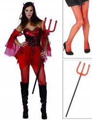 Kit costume diavolo donna con collant e forca di Halloween