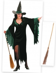 Set costume da strega con scopa Halloween