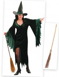 Set costume da strega con scopa Halloween