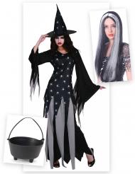 Set costume da strega con parrucca e calderone Halloween