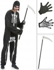 Set costume da scheletro con falce e guanti uomo halloween