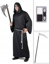 Set costume da morte con falce e trucco halloween