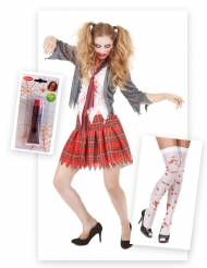 Set costume alunna zombie con accessori per halloween